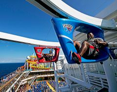 Carnival has found an innovative way to combine excitement with exercise with its brand-new, no extra cost SkyRide. Created by the founder of Rollerblade, it's like riding a bike, only you're pedaling while suspended on a rail above the deck. And the view! Breathtaking vistas are found inside the ship as well on the three-deck-high screen of the first IMAX at sea.