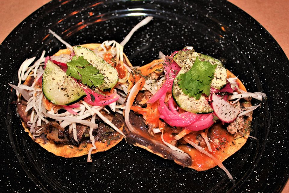 Surf and turf tostadas are a tasty starter at Medregal. Photo by David Dickstein