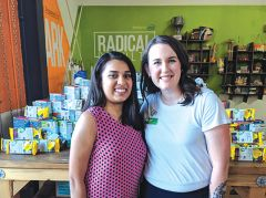 Left to right: Gold Award girl scout Medha Aiyah and GSHCC STEM initiatives manager Beth Peter celebrate the launch of the new Mobile STEM Center + MakerSpace.