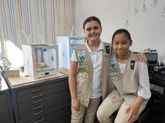 Girl Scouts (left to right) Charlotte French and Phoenix Pham are both interested in 3D printing and forensics, explaining that they like to find clues and solve puzzles.
