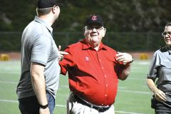 Legendary coach Max Miller, who has the most wins by a coach in school history, was honored at half-time. Photo by Rick Sloan