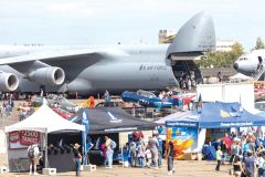 A C-5 Galaxy with the nose cone elevated allows attendees to view the awesome aerial cargo capacity of the U.S. Air Force. Photo courtesy CCA