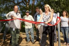 Regional Parks Director, Liz Bellas, and Regional Parks Superintendent, Cid Nieto, commemorated their incredibly effective project execution by their extremely competent project manager, Marie Swehla, with a dramatic ribbon-cutting ceremony. Photo courtesy Mather Alliance