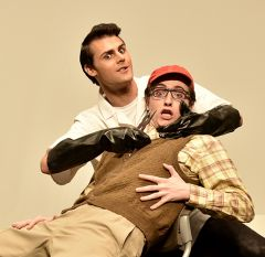Newcomer Ethan Mack (right) plays Seymour Krelborn in American River College Theatre production of Little Shop of Horrors with Jonathan Wertz (left as the Dentist). Photo by Brian Williams