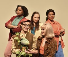 Cast members of the American River College Theatre feature presentation Little Shop of Horrors. Back Row, left to right: Samaria Sylvester, Sarah Gonzalez, Regine Ford. Front Row, left to right: Ethan Mack, Kloe Walker. Photo by Brian Williams