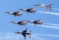The world-famous F-16s of United States Air Force Thunderbirds will be roaring the Sacramento skies this September. Photo by Mark Loper